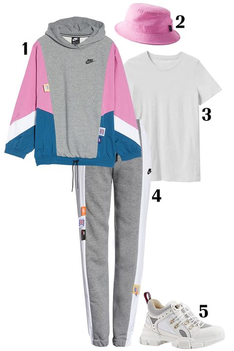 Clothing, Pink, Outerwear, Sleeve, Hood, Jacket, T-shirt, Sweatshirt, Hoodie, Trousers,