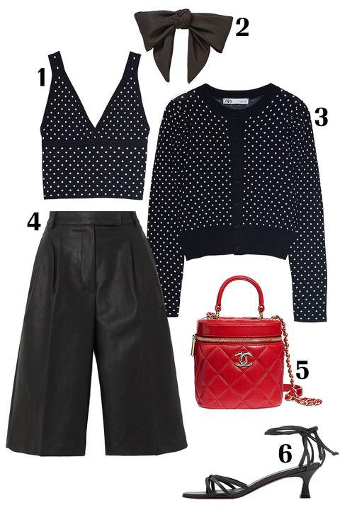 Clothing, Black, Red, Polka dot, Pattern, Design, Footwear, Outerwear, Crop top, Shorts,