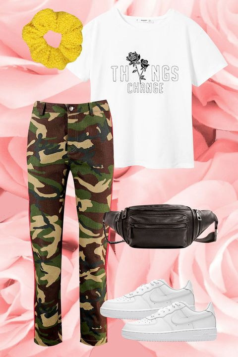 Clothing, Pink, Military camouflage, Camouflage, Pattern, Design, Trousers, Sleeve, Uniform, Cargo pants,