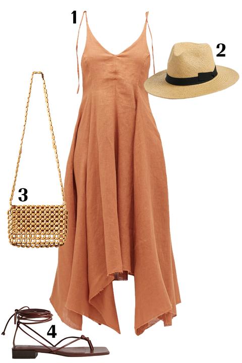 Clothing, Dress, Hat, Brown, Yellow, Tan, Beige, Footwear, Fashion, Sun hat,