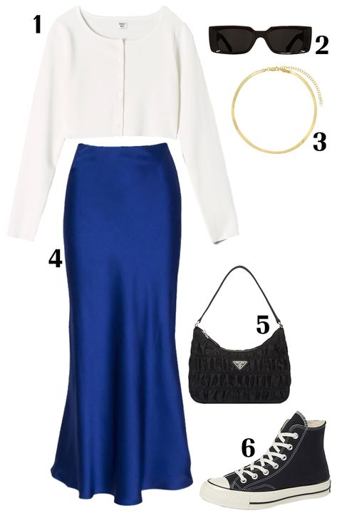 Clothing, White, Blue, Footwear, Fashion, Sleeve, Dress, Crop top, Outerwear, Electric blue,