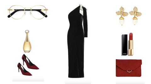 Clothing, Dress, Little black dress, Eyewear, Formal wear, Fashion, Glasses, Sheath dress, Neck, Cocktail dress,