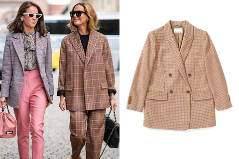 Clothing, Outerwear, Street fashion, Fashion, Plaid, Pink, Coat, Jacket, Pattern, Blazer,
