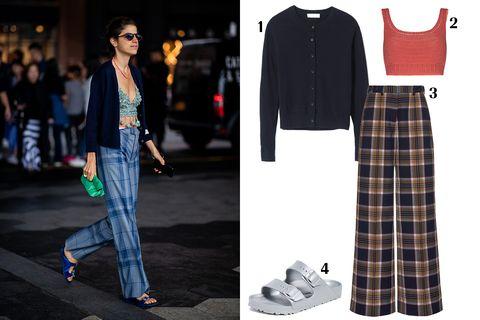 Clothing, Plaid, Tartan, White, Street fashion, Fashion, Pattern, Footwear, Design, Shoe,