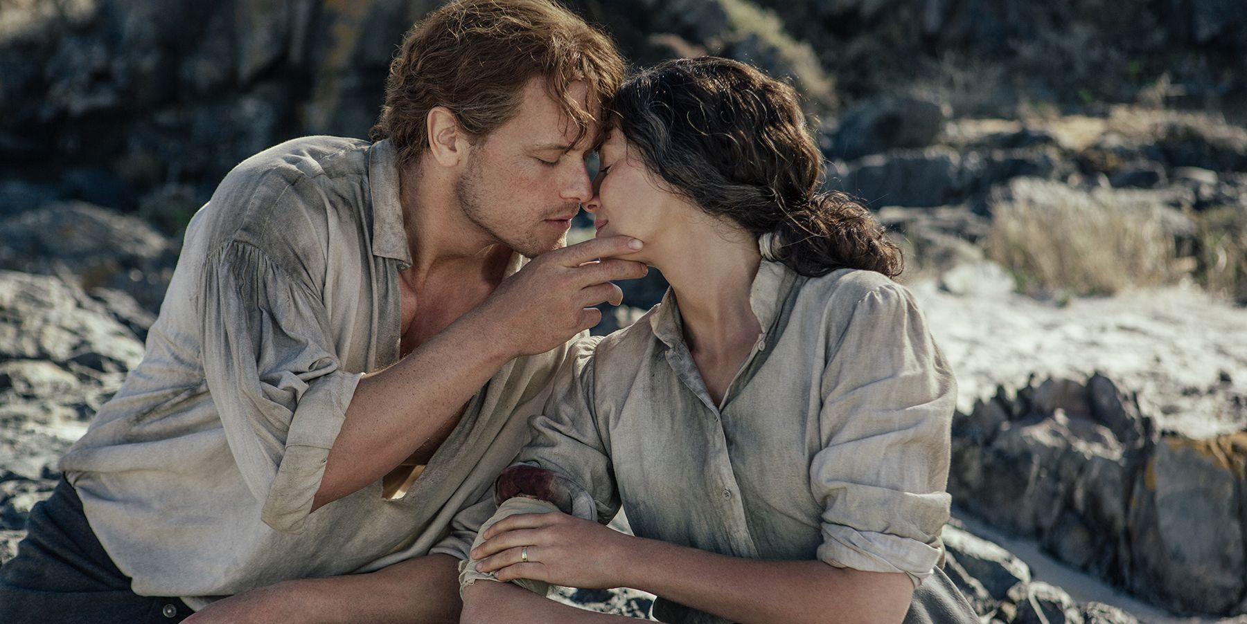 Sam Heughan and Caitriona Balfe as Jamie and Claire in Outlander