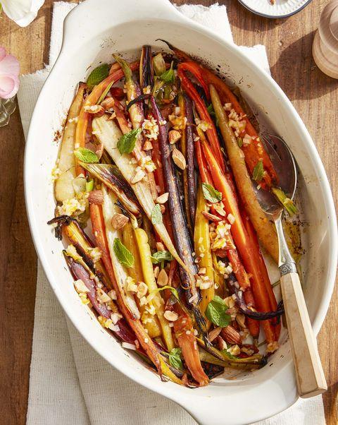 rainbow carrots in baking dish