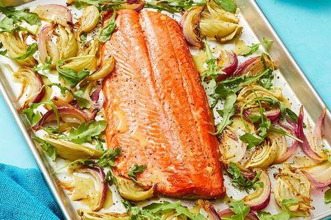 Oven-Roasted Salmon with Charred Lemon Vinaigrette