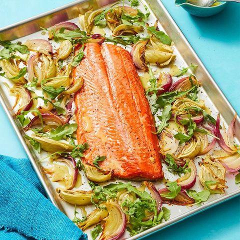 oven roasted salmon with charred lemon vinaigrette