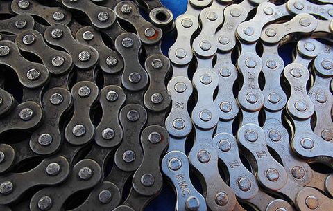 Metal, Bicycle part, Bicycle drivetrain part, Font, Bicycle chain, Pattern, Office equipment, Circle,