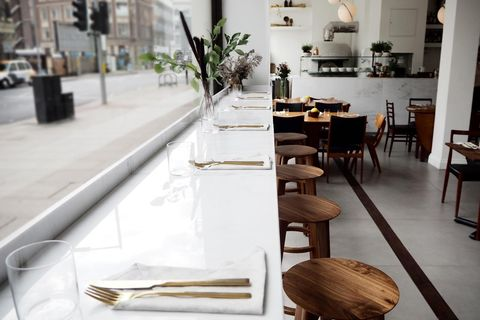 Restaurant, Table, Furniture, Interior design, Room, Brunch, Coffeehouse, Building, Café,