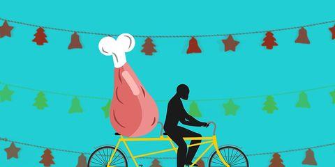 overeating turkey leg holiday tandem bike cycling challenge