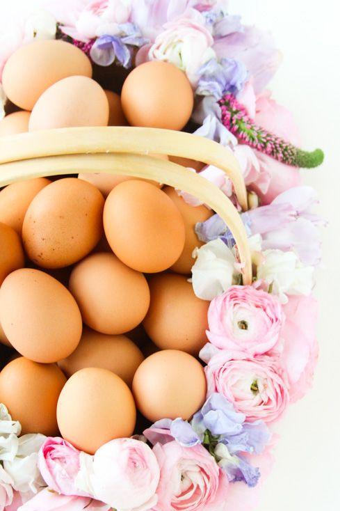 easter basket ideas - flower basket with eggs
