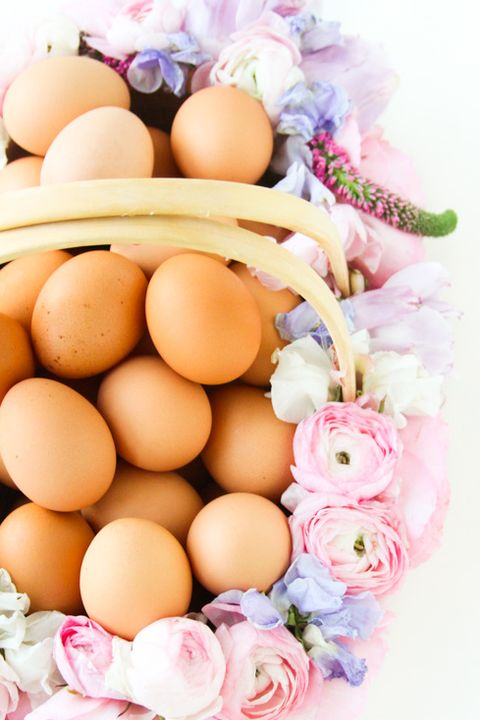 easter basket ideas - flower basket with eggs