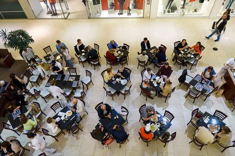 Overhead view of dining tables at a cafe, in Aventura Mall.