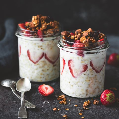 overnight oats with strawberries and granola in jar