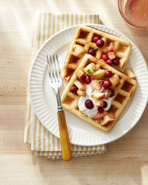 overnight yeasted waffles with fruit