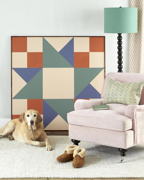 oversize quilt square painted on plywood wall art, diy