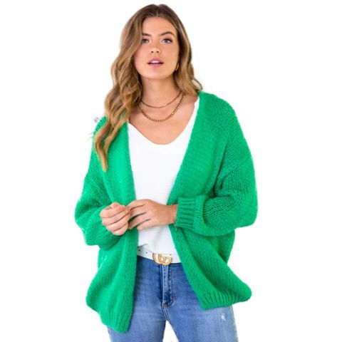 oversized knitted vest bright green