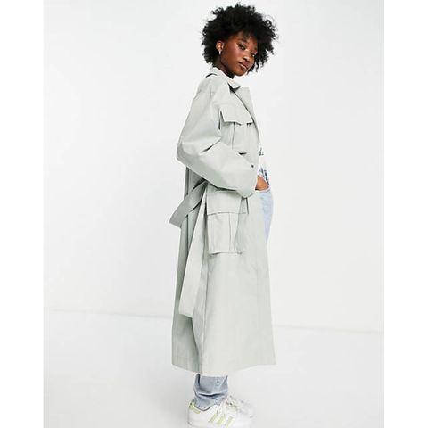 oversized trenchcoat met zakdetail in saliegroen