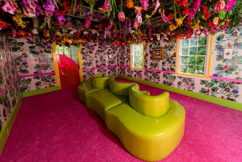 Room, Pink, Interior design, Furniture, Magenta, Tree, House, Couch, Architecture, Plant,