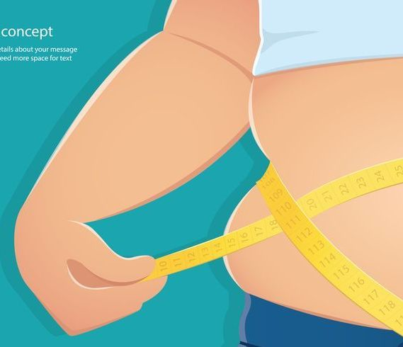 overweight, fat person use scale to measure his waistline with blue background vector illustration eps10