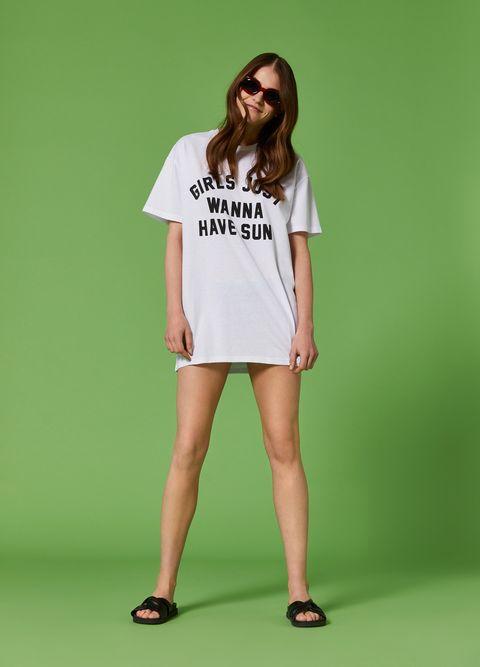 Clothing, White, Green, Shoulder, T-shirt, Fashion, Yellow, Fashion model, Sleeve, Footwear,