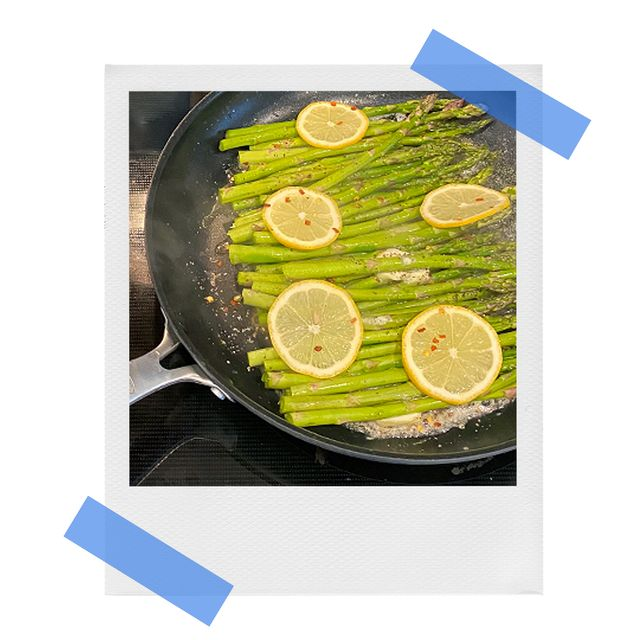 oxo nonstick fry pan with asparagus