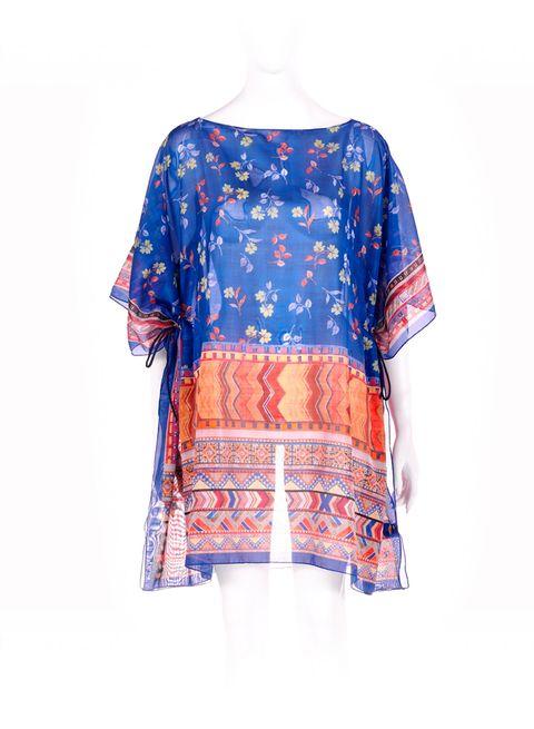 Clothing, Blue, Sleeve, Orange, Blouse, Turquoise, T-shirt, Top, Violet, Crop top,