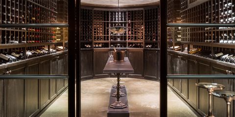 Architecture, Wine cellar, Iron, Building, Interior design, Lobby, Ceiling, Glass, Room, Metal,