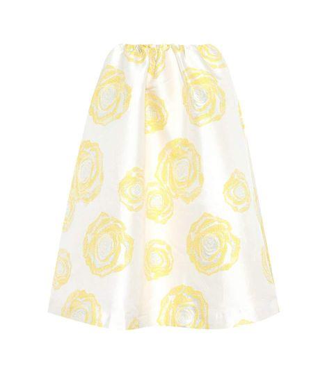 White, Clothing, Yellow, Pattern, A-line, Dress, Polka dot, Pattern, Trousers,