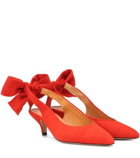 Footwear, High heels, Red, Shoe, Slingback, Orange, Mary jane, Basic pump, Court shoe, Sandal,