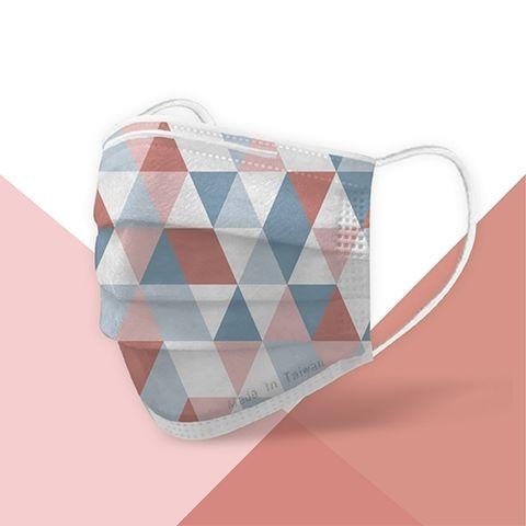 粉色及藍色的三角格紋