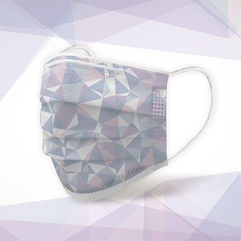 藍紫色的三角形紋路口罩