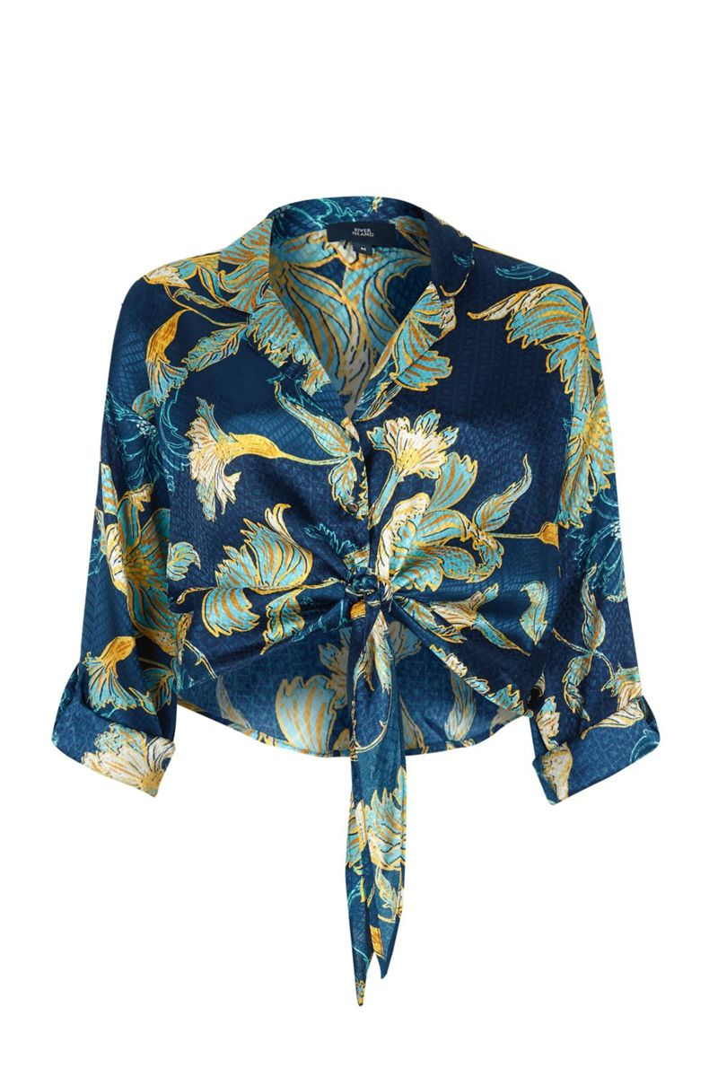River Island Blue floral print jacquard tie front shirt