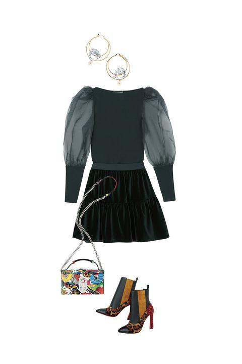 アリス アンド オリビアのチュールのニットとベロアのスカートとクリスチャン ルブタンのバッグと靴とナッシュのピアス