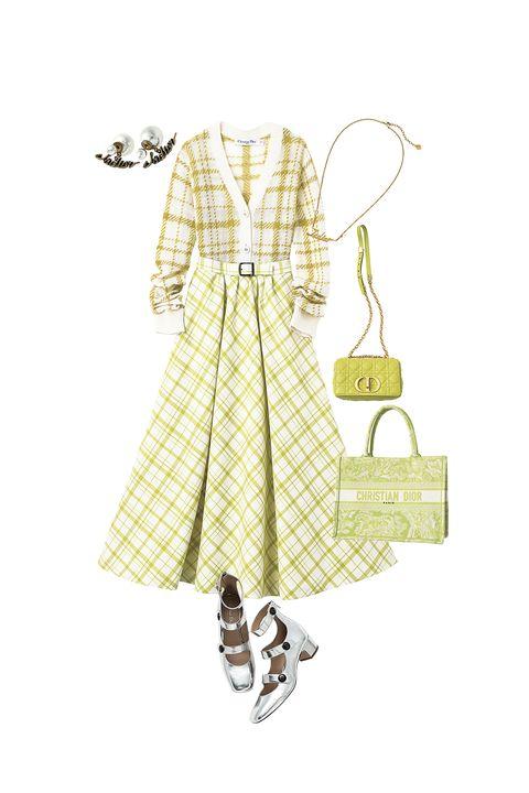 ディオールのカーディガン、スカート、バッグ、靴、ピアス、ネックレス