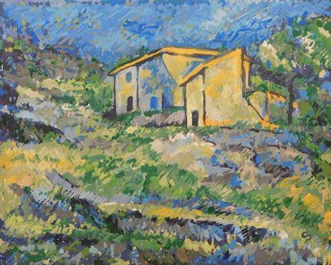 Painting, Watercolor paint, Acrylic paint, House, Tree, Art, Rural area, Visual arts, Paint, Farmhouse,