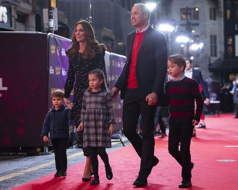 the duke and duchess of cambridge and their children, prince louis, princess charlotte and prince george attend a special pantomime performance at london's palladium theatre, hosted by the national lottery, to thank key workers and their families for their efforts throughout the pandemic