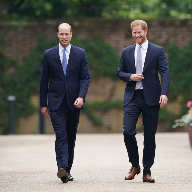 the duke of cambridge and duke of sussex arrive for the unveiling of a statue they commissioned of their mother diana, princess of wales in the sunken garden at kensington palace, london, on what would have been her 60th birthday picture date thursday july 1, 2021