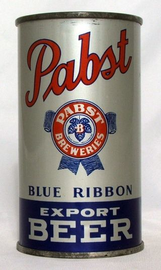 Steel Pabst Blue Ribbon can from the early 1940s.
