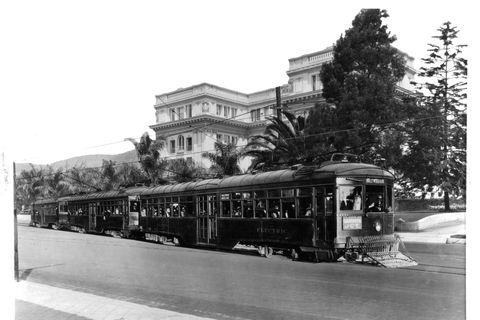 Pacific Electric Rail Car on Hollywood Boulevard just west of Highland Avenue in Los Angeles, California