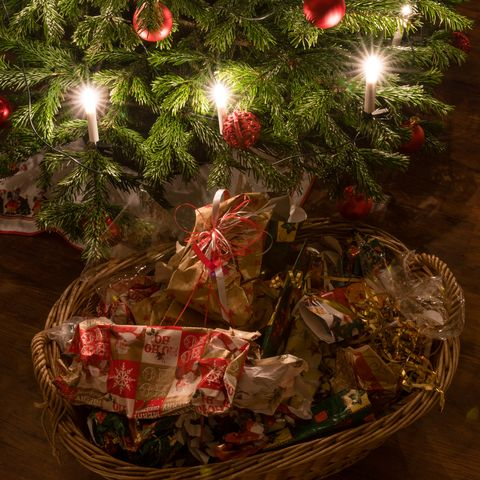 Packaging waste under the christmas tree