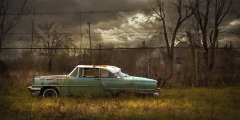 Motor vehicle, Vehicle, Car, Classic car, Vehicle door, Automotive design, Full-size car, Tree, Plant, Sedan,