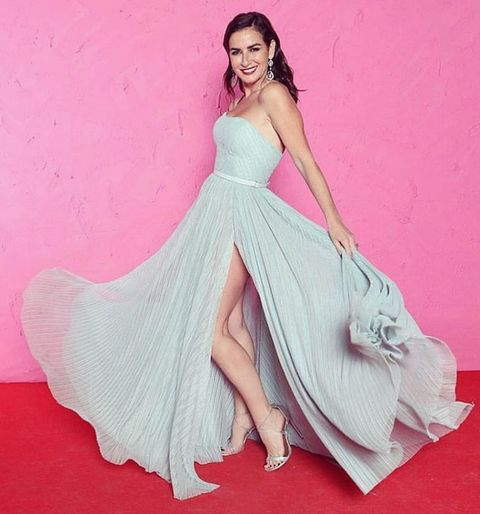 Dress, Gown, Clothing, Fashion model, Pink, Shoulder, Strapless dress, A-line, Bridal party dress, Formal wear,