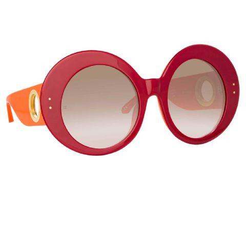 paco rabanne rode zonnebril met ronde glazen