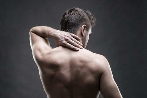 Pain in the neck on gray background