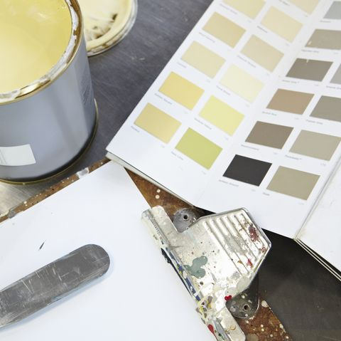 Paint can, swatches and pallet knife