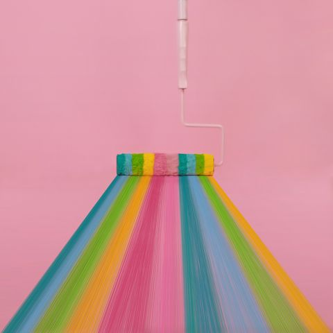 paint roller with rainbow stripes