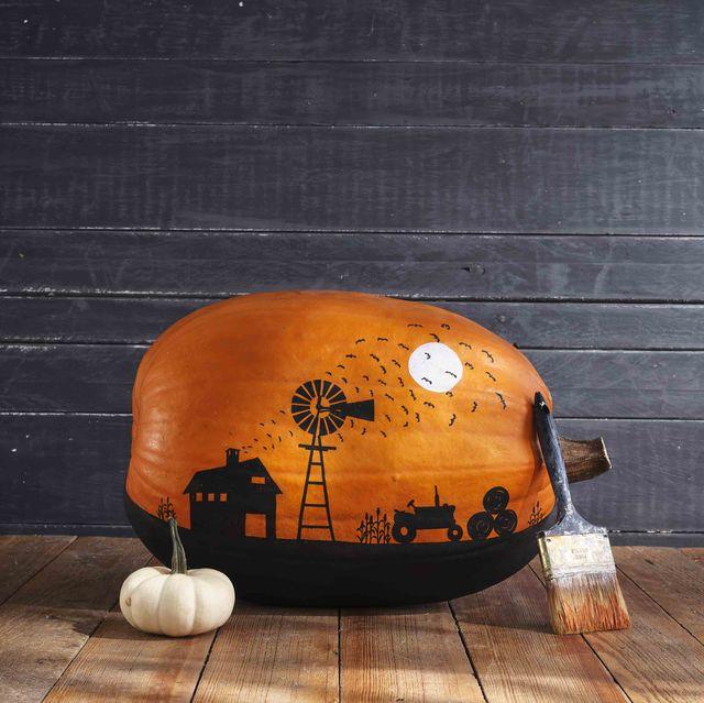 painted farm scene pumpkin