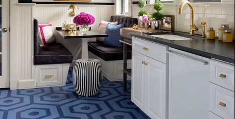 Room, Furniture, Kitchen, Countertop, Interior design, Property, Cabinetry, Building, Floor, Tile,